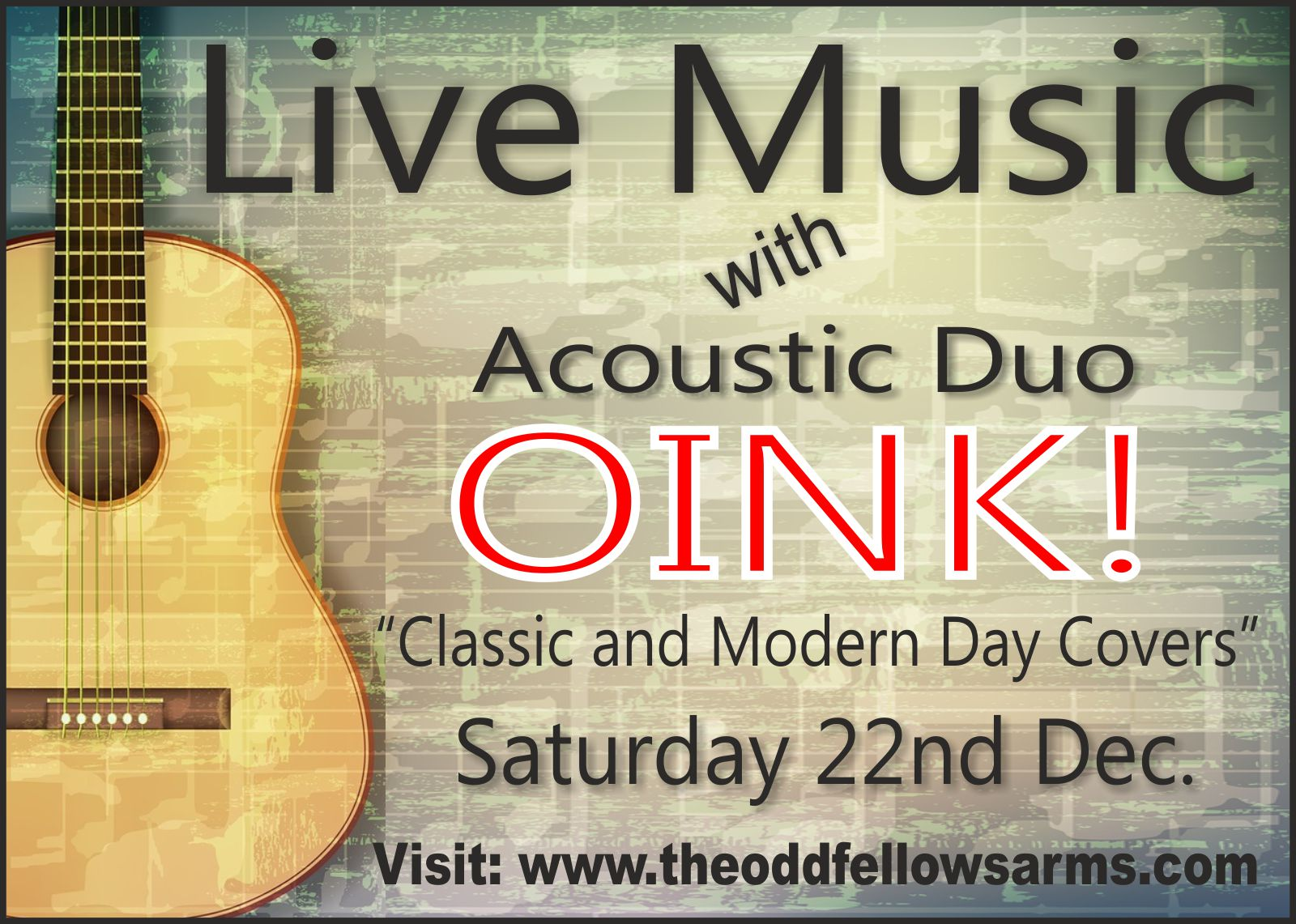 Live Music with Oink – 22nd December